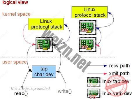 图 3 .TAP 设备和 VETH 设备工作过程